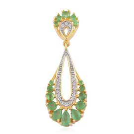 Brazilian Emerald (Pear), White Zircon Pendant in Yellow Gold Overlay Sterling Silver 1.270 Ct.