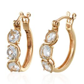 Espirito Santo Aquamarine (Ovl) Hoop Earrings in 14K Gold Overlay Sterling Silver 1.750 Ct.