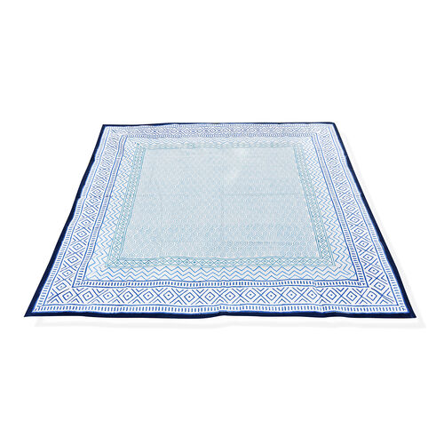 100% Cotton Blue and White Colour Hand Block Printed Table Cover (Size 235x150 Cm)