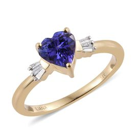 ILIANA 18K Y Gold AAA Tanzanite (Hrt 1.10 Ct), Diamond Ring 1.250 Ct.