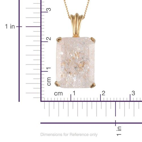 White Crackled Quartz (Oct) Solitaire Pendant With Chain in 14K Gold Overlay Sterling Silver 13.000 Ct.