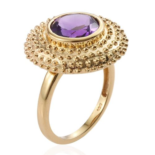 Amethyst (Rnd) Ring in 14K Gold Overlay Sterling Silver 3.250 Ct.