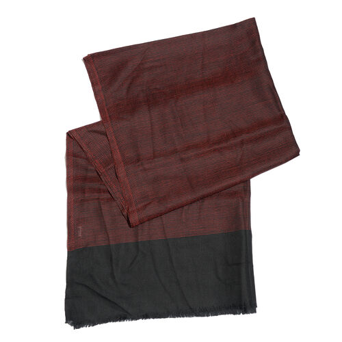 100% Cashmere Wool Pin Checks Pattern Red and Black Colour Scarf with Fringes (Size 200x70 Cm)