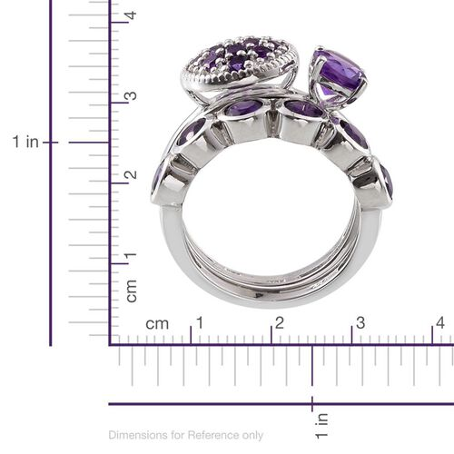 Set of 3 - Lusaka Amethyst (Rnd) Solitaire, Half Eternity and Cluster Ring in Platinum Overlay Sterling Silver 2.500 Ct.