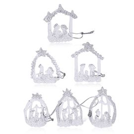 (Option 1) Set Of 6 Home Decor - Silver Colour Glittering Six Glass Nativity Scene in a Box (Size 17x15x4 Cm)