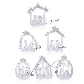 (Option 1) Set Of 6 Home Decor - Silver Colour Glittering Six Glass Nativity Scene in a Box (Size 17x15x4 Cm)