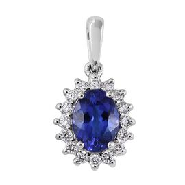 RHAPSODY 950 Platinum AAAA Tanzanite (Ovl 1.05 Ct), Diamond Pendant 1.250 Ct.