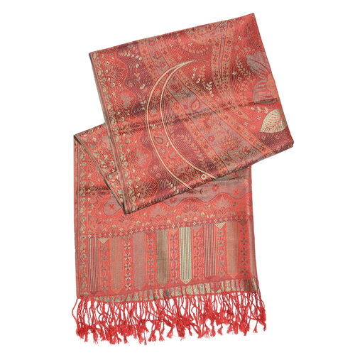 Silk Mark - 100% Super Fine Silk Autumn Sunset, Golden, Grey and and Multi Colour Floral and Leaves Pattern Jacquard Jamawar Scarf with Fringes (Size 180x70 Cm) (Weight 125 - 140 Gms)