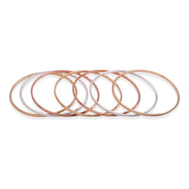Set of 7 - Close Out Deal Rose, Silver and Gold Plated Brass Bangle (Size 7.5)