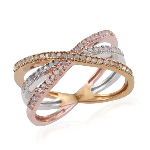 Diamond (Rnd) Criss Cross Ring in Rose Gold, Yellow Gold and Platinum Overlay Sterling Silver 0.330 Ct.