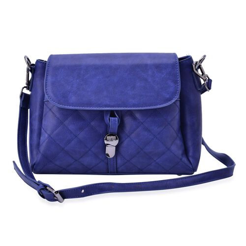 Designer Inspired Blue Colour Diamond Cut Pattern Handbag With Adjustable and Removable Shoulder Strap (Size 27.5x21x12 Cm)