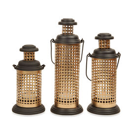 Home Decor - Set of 3 - Square Cut Work Hanging Lantern with LED T Light