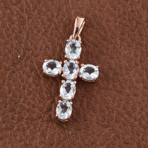 Espirito Santo Aquamarine 1.75 ct. Silver Cross Pendant in Rose Gold Overlay