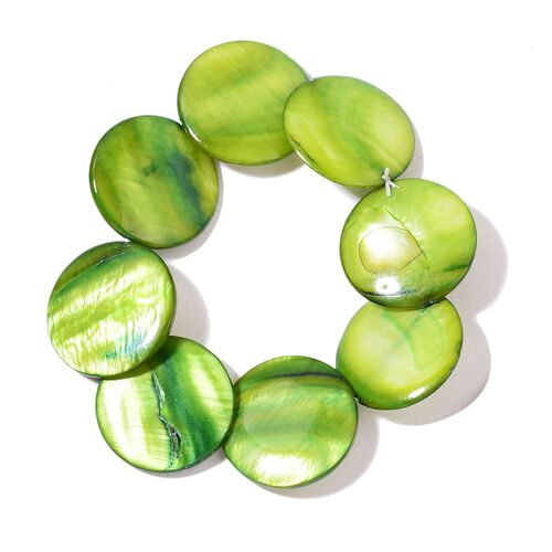 Green Shell Coin Necklace (Size 21 with Extender), Stretchable Bracelet and Hook Earrings in Stainless Steel