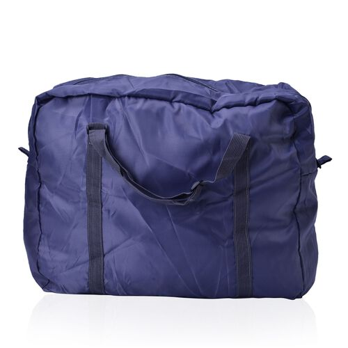Set of 2 - Blue Colour Foldable Waterproof Travel Bag and Storage Bag (Size 42x35x17 Cm and 26.5x16x9.5 Cm)
