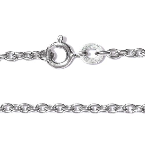 One Time Deal - Rhodium Plated Sterling Silver Rolo Chain (Size 20), Silver wt. 5.50 Gms.