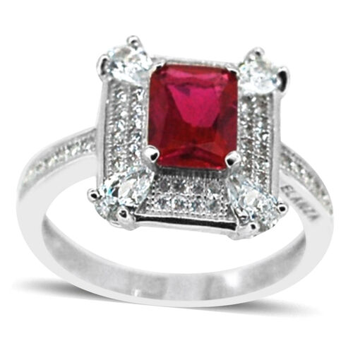 ELANZA AAA Simulated Ruby (Oct), Simulated Diamond Ring in Rhodium Plated Sterling Silver