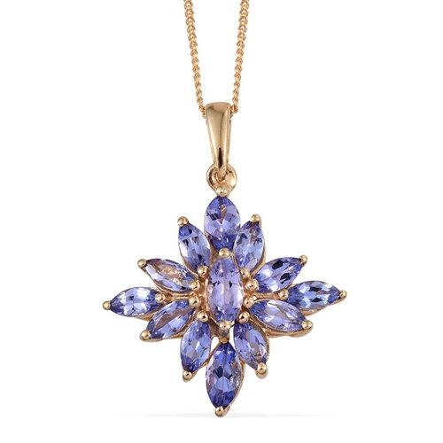 Tanzanite (Mrq) Pendant With Chain in 14K Gold Overlay Sterling Silver 2.000 Ct.