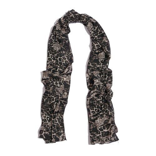 Leopard Printed Black Colour Scarf (Size 185x105 Cm)