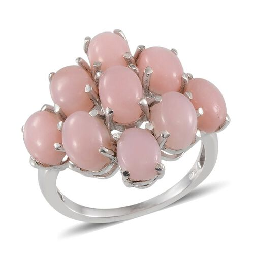 Peruvian Pink Opal (Ovl) Cluster Ring in Platinum Overlay Sterling Silver 6.750 Ct.