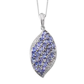 Tanzanite (Mrq), Diamond Cluster Pendant With Chain in Platinum Overlay Sterling Silver 2.510 Ct.