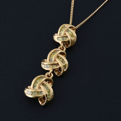 Yellow Diamond (Bgt) Triple Knot Pendant with Chain in 14K Gold Overlay Sterling Silver 0.330 Ct.