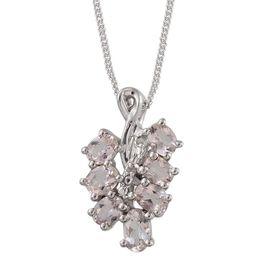Marropino Morganite (Ovl), Diamond Pendant With Chain in Platinum Overlay Sterling Silver 1.160 Ct.