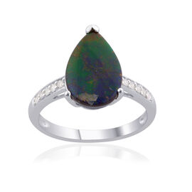 Tucson Collection 9K W Gold Canadian Ammolite (Pear 1.65 Ct), Diamond Ring 1.750 Ct.