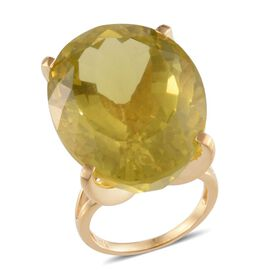Brazilian Green Gold Quartz (Ovl) Solitaire Ring in 14K Gold Overlay Sterling Silver 61.000 Ct.