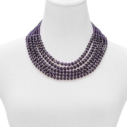 Simulated Amethyst Necklace (Size 20 with Extender) in Silver Tone