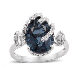 Indicolite Quartz (Pear), Diamond Ring in Platinum Overlay Sterling Silver 6.500 Ct.