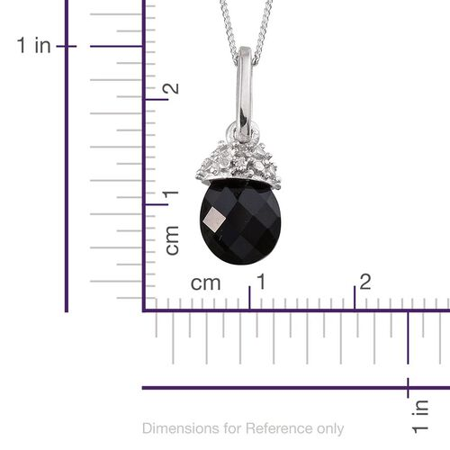 Briolitte Cut Black Onyx and Diamond Pendant With Chain in Platinum Overlay Sterling Silver 1.520 Ct.