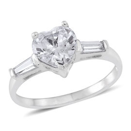 ELANZA AAA Simulated White Diamond (Hrt) Ring in Rhodium Plated Sterling Silver
