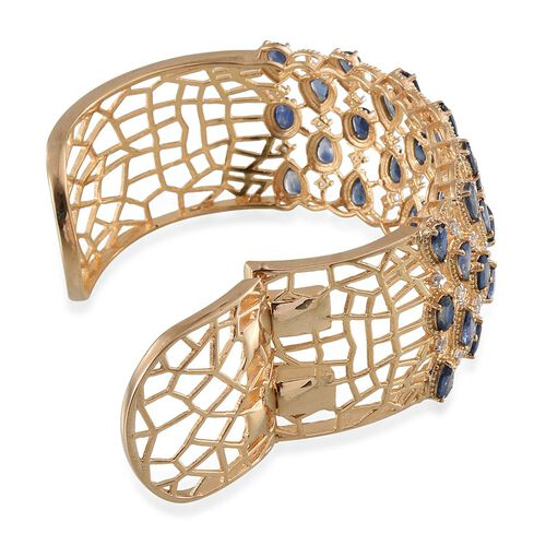 Kanchanaburi Blue Sapphire (Ovl), White Topaz Cuff Bangle (Size 7.5) in 14K Gold Overlay Sterling Silver 13.000 Ct.