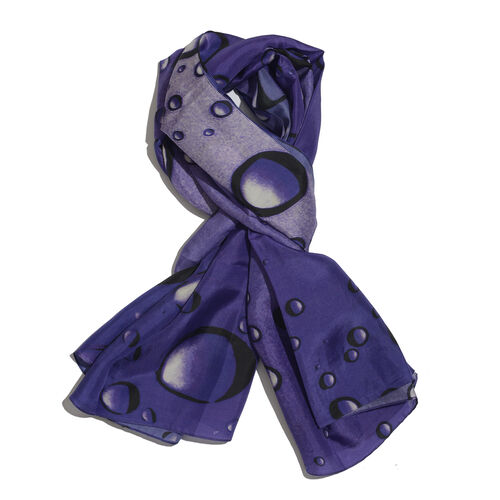 LucyQ 100% Mulberry Silk Digital Print Purple and Black Colour Bubble Pattern White Colour Scarf (Size 170x100 Cm) 40 Grms.