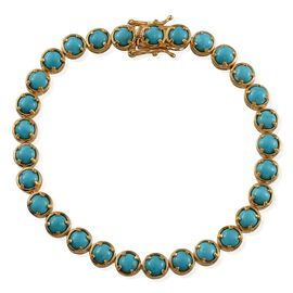 Arizona Sleeping Beauty Turquoise (Rnd) Bracelet in 14K Gold Overlay Sterling Silver (Size 8) 10.000 Ct.