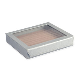 Hand Crafted - Eco Friendly Silver Colour 100 Slot Ring Box with Magnetic Closure (Size 24x22x5 Cm)
