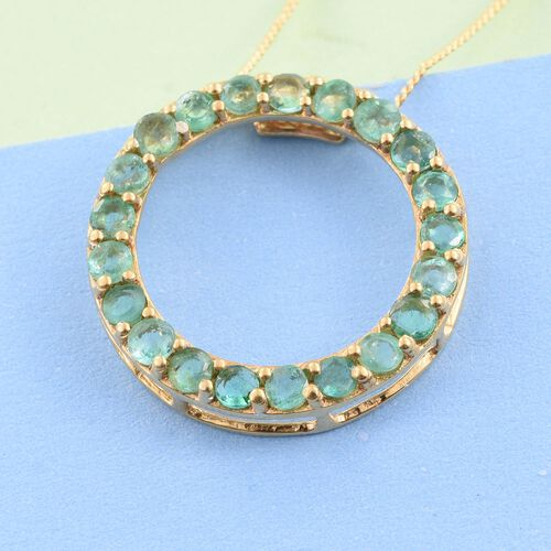 Kagem Zambian Emerald (Rnd) Circle of Life Pendant With Chain in 14K Gold Overlay Sterling Silver 1.500 Ct.