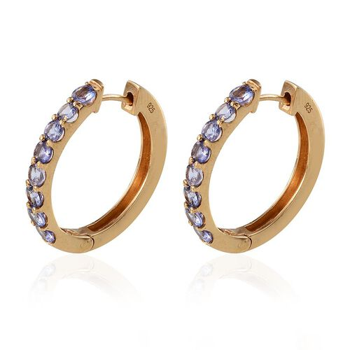 Tanzanite (Rnd) Hoop Earrings (with Clasp) in 14K Gold Overlay Sterling Silver 2.000 Ct.