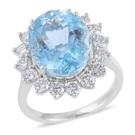 RHAPSODY 950 Platinum AAAA Espirito Santo Aquamarine (Ovl 8.25 Ct), Diamond (VS/E-F) Ring 9.750 Ct.