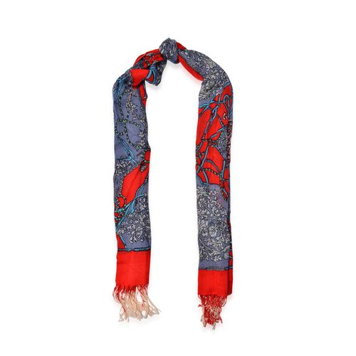 100% Wool Floral Pattern Red, Blue and Multi Colour Scarf (Size 175x70 Cm)