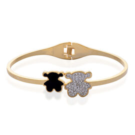 Close Out Deal White Austrian Crystal Enameled Teddy Bear Bangle in ION Plated YG Stainless Steel (Size 7.5)