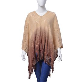 Designer Inspired Light Chocolate and Deep Chocolate Colour Poncho (Size 95x60 Cm)