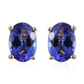 ILIANA 18K Yellow Gold 2 Carat AAA Tanzanite Solitaire Stud Earrings with Screw Back.