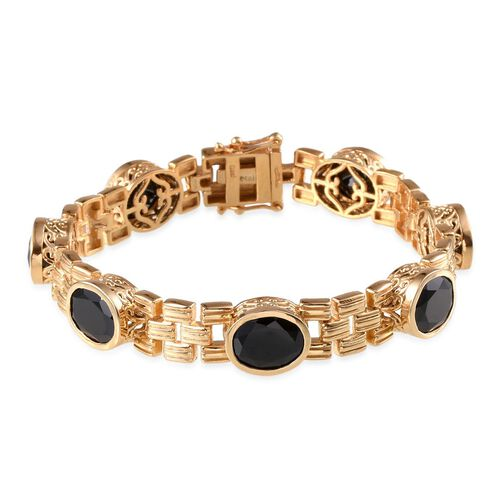 Boi Ploi Black Spinel (Ovl) Bracelet in 14K Gold Overlay Sterling Silver (Size 7.5) 25.000 Ct.
