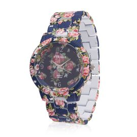 STRADA Japanese Movement Floral Navy Blue Dial Water Resistant Watch with Stainless Steel Back and Floral Pattern Navy Blue Strap