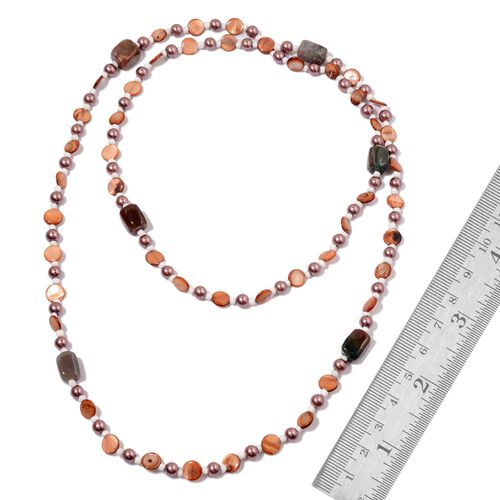 Indian Agate, Brown Shell Pearl, White Glass and Purple Glass Pearl Necklace (Size 25)