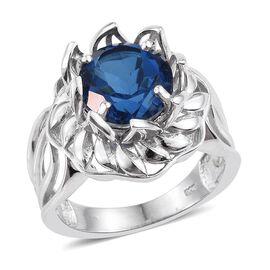 Ceylon Colour Quartz (Rnd) Solitaire Ring in Platinum Overlay Sterling Silver 5.500 Ct.