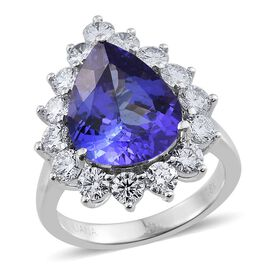 ILIANA 18K W Gold AAA Tanzanite (Pear 6.50 Ct), Diamond Ring 8.500 Ct.