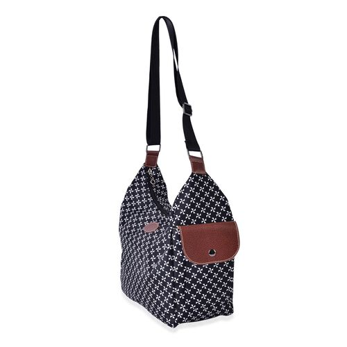 Floral Pattern White and Black Colour Crossbody Bag with External Pocket and Adjustable Shoulder Strap (Size 38x30x26x13 Cm)